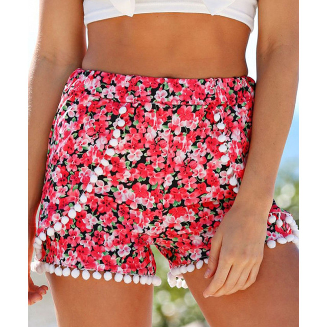 2020 Summer Style Casual Shorts Women Black Beach Pom Pom Ball Tassel Sunflower Print Short Feminino Elastic High Waist Shorts Women's Clothing & Accessories