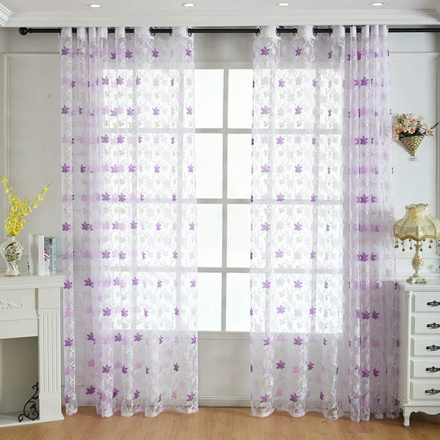 Window Tulle Curtains For Living Room Bedroom Sheer Voile Kitchen Curtain Styles Organza Gauze Curtains Panel Leaf Pattern 1 Pcs