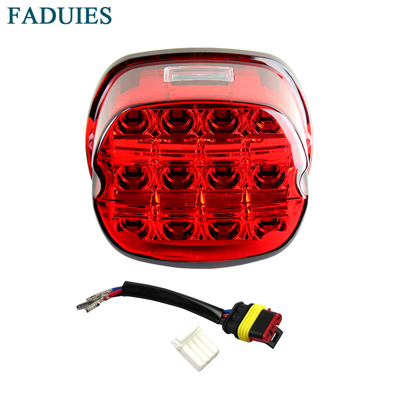 FADUIES Motorcycle LED Light red Tail Brake Light 12V License Plate Rear Lamp For Harley Dyna Super Wide Glide Low Rider Fat Bob sitaile universal 12v 30 led car license plate backup reverse brake rear light lamp bar red white waterproof number plate lamp