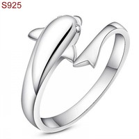 Genuine Real Pure Solid 925 Sterling Silver Rings For Women Fine Jewelry Female Dolphine Fashion Adjustable