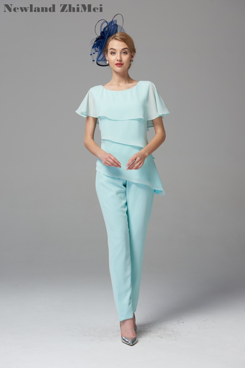 Mint Green Mother of the Bride Pant Suits 2019 Best Selling Comfortable Chiffon Trousers Set for Wedding vestido mae da noiva