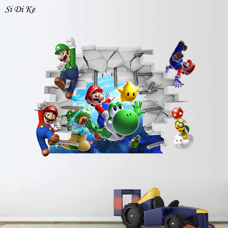 Super Mario Bros Removable Wall Sticker Decals Nursery Home Decor Vinyl Mural for Kids Boys Bedroom Living Room Mural Art