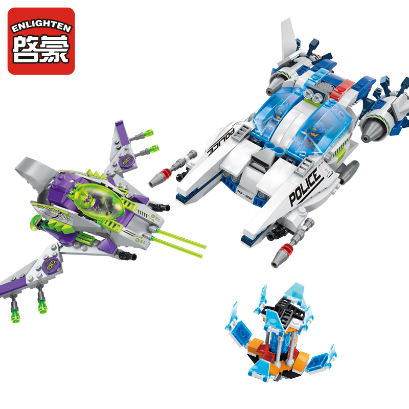 1616 ENLIGHTEN Star Wars Adventure Alien Jet Assault Model Building Blocks Action DIY Figure Toys For Children Compatible Legoe 1402 enlighten star wars 8 in 1 aircraft carrier ship tank model building blocks diy figure toys for children compatible legoe