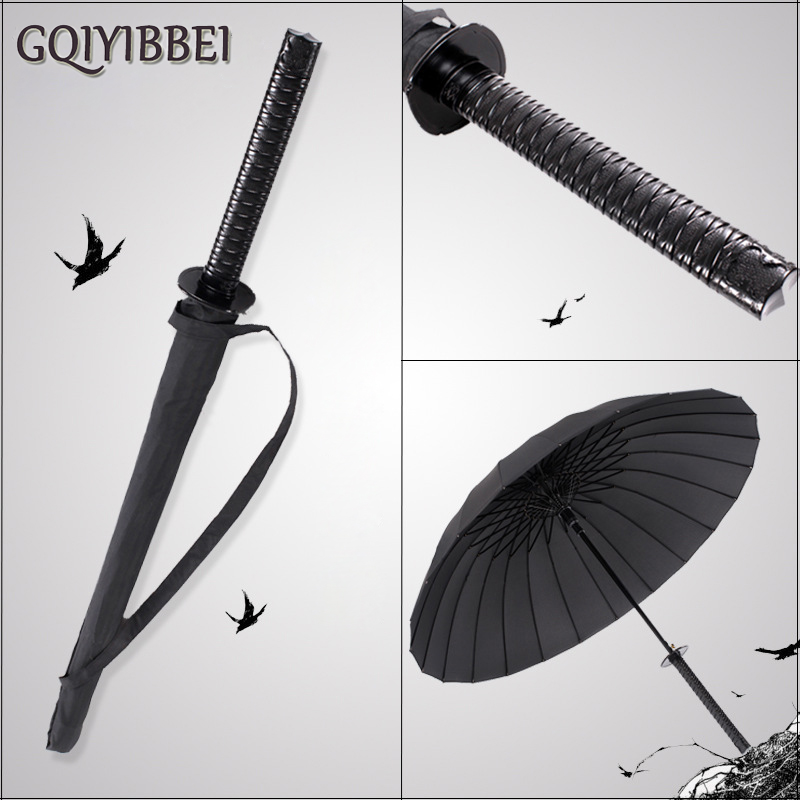GQIYIBBEI Stylish 6 models Black Samurai Ninja Sword Long-handle Rain Gear Umbrellas Semi-automatic Open Close 8, 16 or 24 Ribs