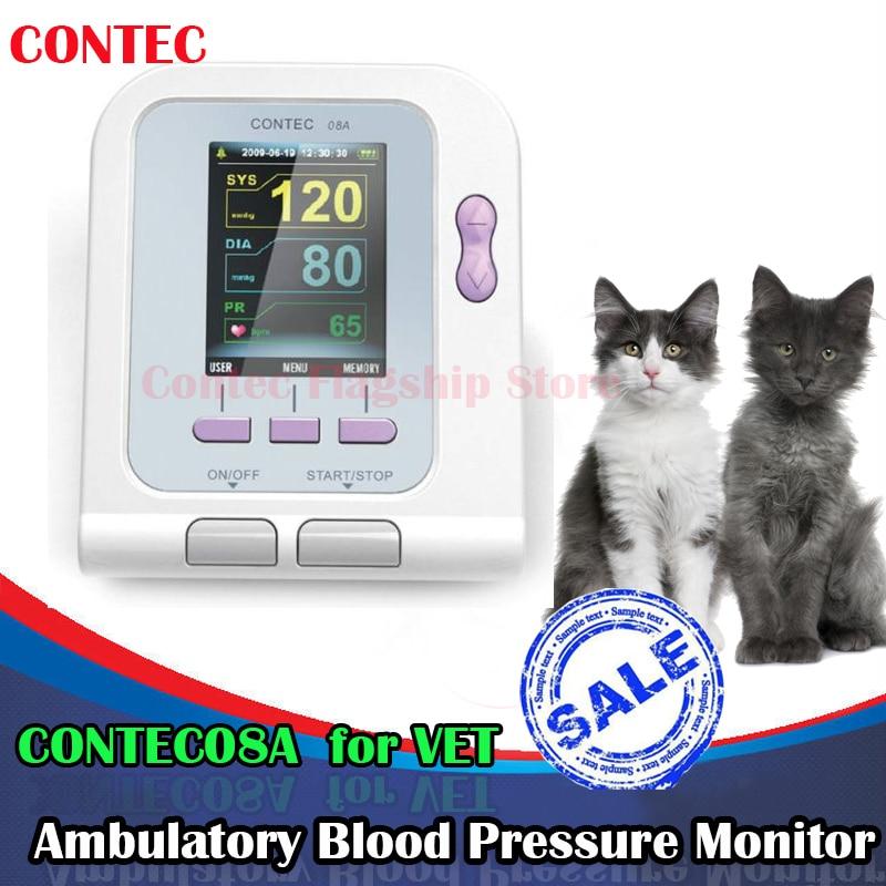 FDA Vet Veterinary OLED digital Blood Pressure&Heart Beat Monitor NIBP CONTEC08A portable home digital arm blood pressure monitor heart beat meter with lcd display and 4x30 memories ah 216