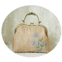 2016 Vintage Handmade Wool Felt Embroidery Handbag Daisy Floral Flower Kiss lock Clasp Crossbody Handbags Gift