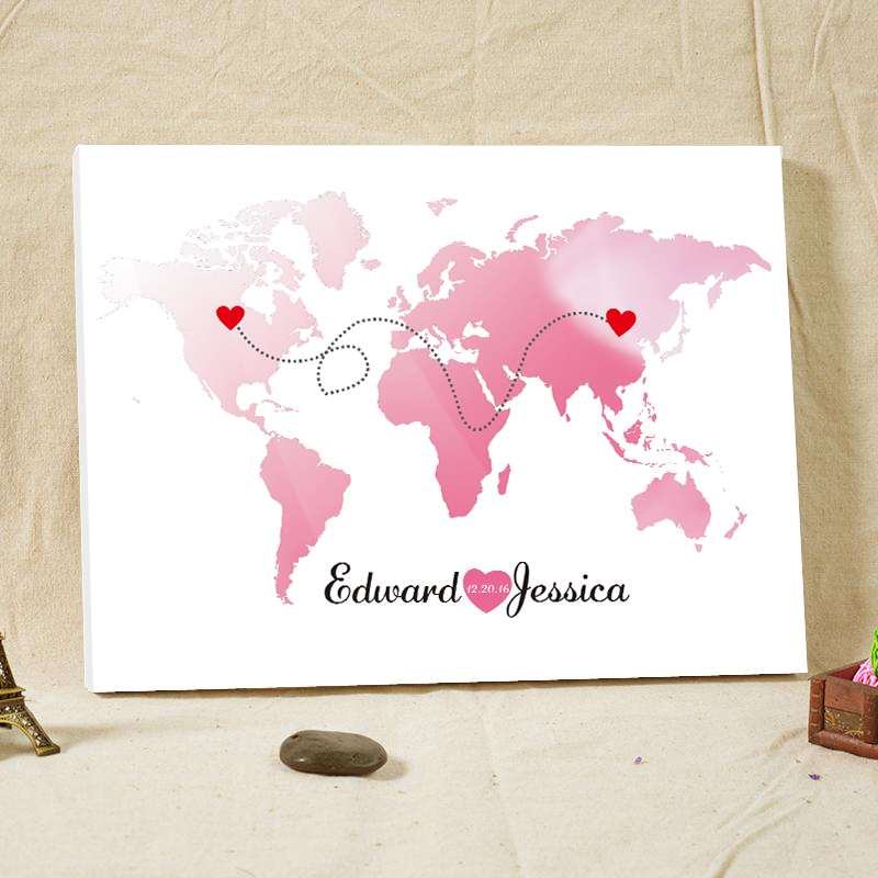 Wedding guest book personalizedworld map canvas wedding guestbook wedding decoration guest book world map alternative unique wedding guest books travel themed wedding favor custom gumiabroncs Images