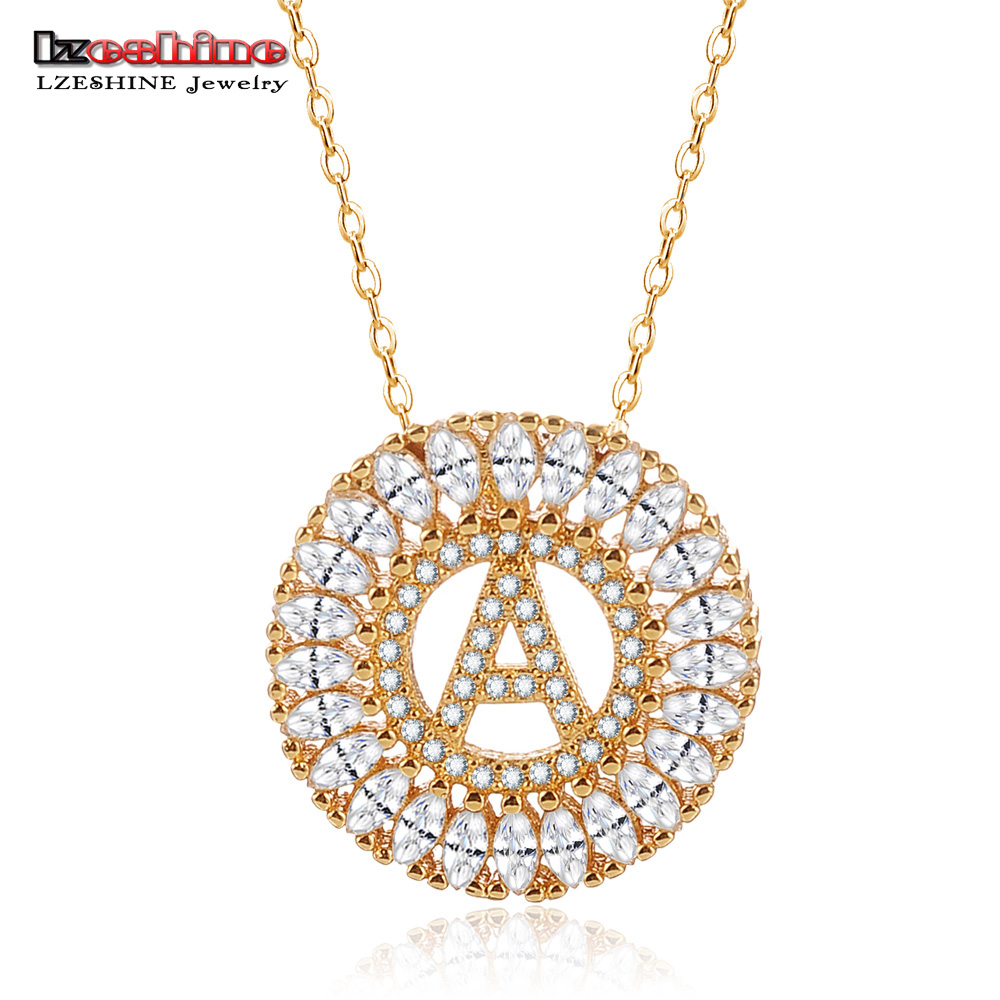 LZESHIN Customize Necklace Gold Color With Clear Cubic Zircon 26 Letter Necklaces & Pendants For Women Fashion Jewelry Colar