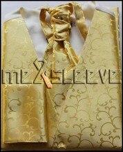 free shipping  fashion gold swirl mans waistcoat (waistcoat+ascot tie+cufflinks+handkerchief)