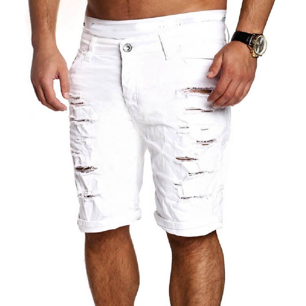 Men Skinny Runway Straight Zipper Denim Pants Destroyed Ripped Knee Length Jeans