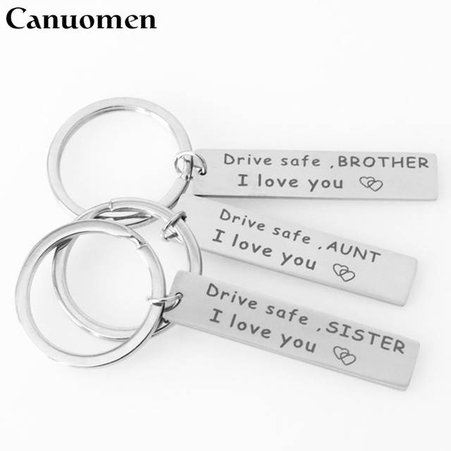 Canuomen Drive Safe Keychain Stainless Steel Birthday Gifts To Grandpa Grandma Dad Mom Brother Sister Husband Car Keyring