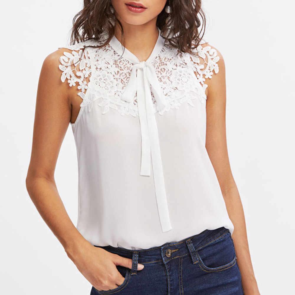 Tie Lace Chiffon Blouse Solid White Tops Blusas Plus Size Nieuwe Zomer Vrouwen Blusas Mode Korte Mouw Casual Zomer Blouses