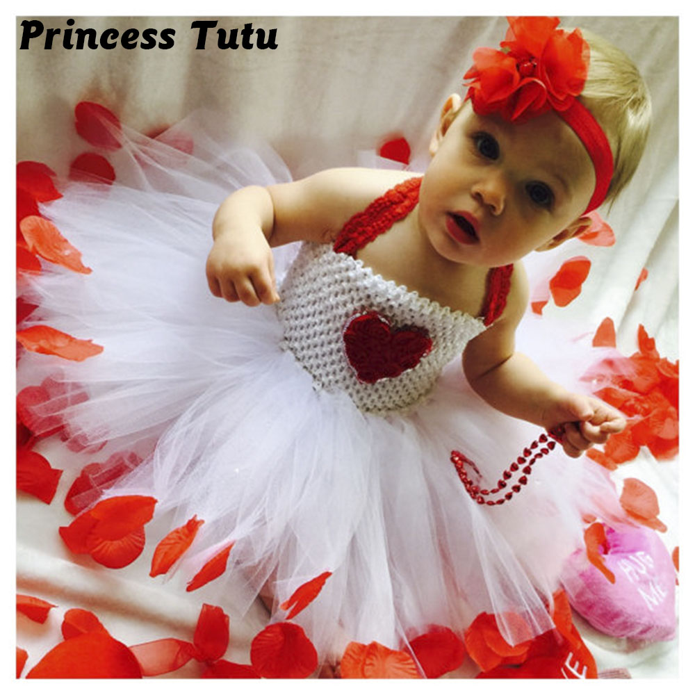 Rose Petal Valentines Day Girl Tutu Dress Red Heart Shabby Flower Girls Valentine's Day Photo Prop Tutu Dresses For Holidays