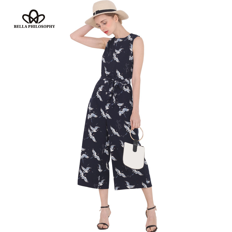Bella Philosophy spring summer new jumpsuit women's bird print O-neck sleeveless belt sashes ankle-length jumpsuits blue