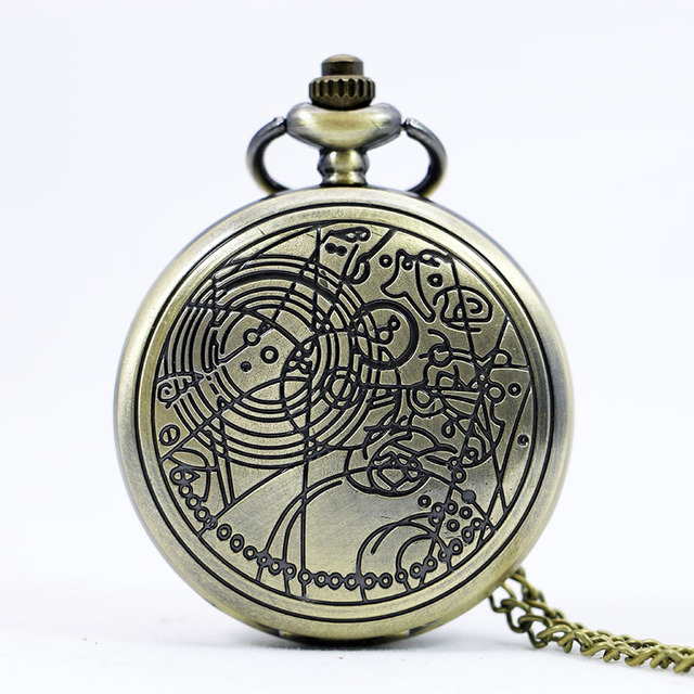 Fashion UK Doctor Who Style Vintage Quartz Pocket Watch With Chain Necklace Pend