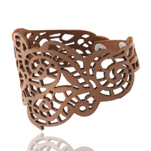 Best Price Vintage Women Punk Style Hollow Out Flower Wide Bangle Cuff Leather Bracelet