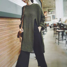 2016 Sexy High Split Women Sweaters Pullovers Fashion Casual Loose O Neck Batwing Sleeve Long Knitted Jumpers Tops Pull Femme