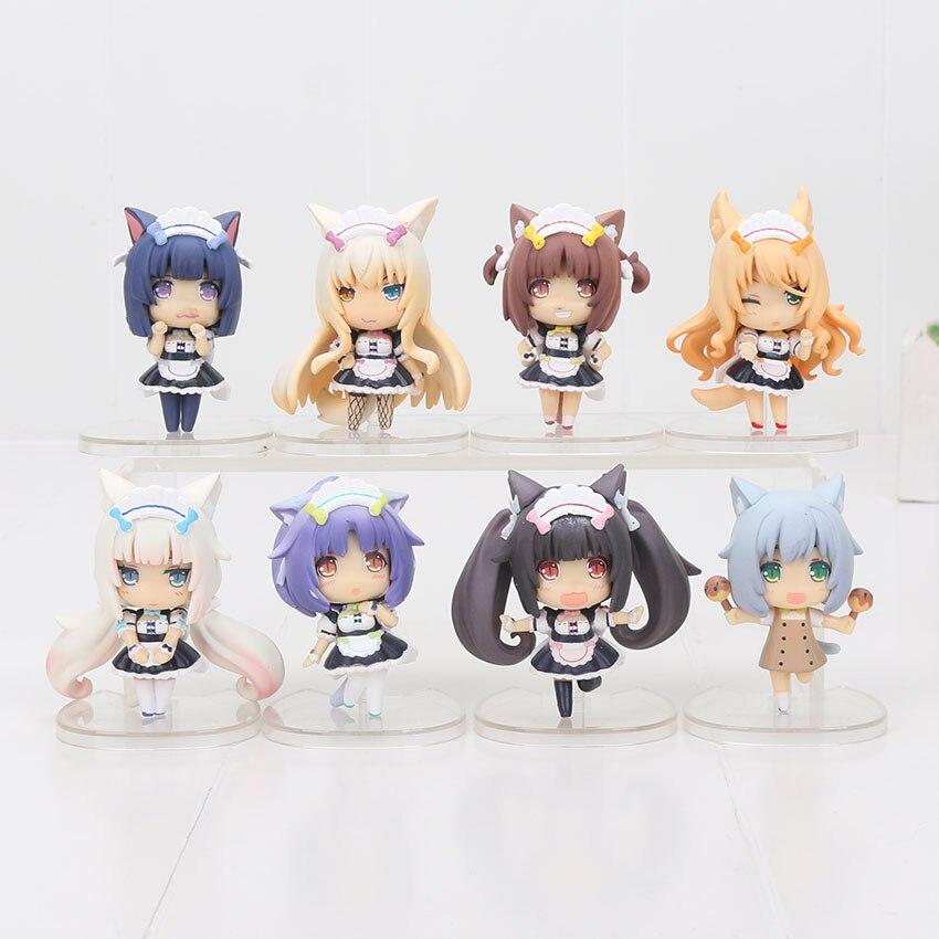 8pcs//lot NEKOPARA Figure Toys Chocolat Vanilla Azuki Coconut Maple Egg La Soleil