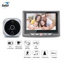Saful 3000 mAh цифровой видео глазок камера дверной звонок видео-глаз с tf-картой фотографический зритель в дверном глазок монитор для дома