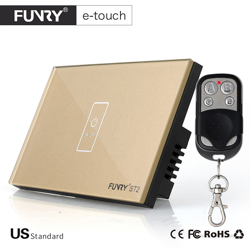 FUNRY ST2-US Touch Switch 1 Gang-1 Way Golden Panel Smart Wall Switch for Smart Home with  Remote Controller Free Shipping smart home us au wall touch switch white crystal glass panel 1 gang 1 way power light wall touch switch used for led waterproof