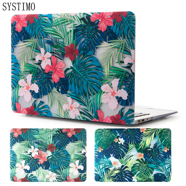 new style bf6a7 a9b1a US $8.24 33% OFF|SYSTIMO Beautiful Floral Leaves Laptop Case for Apple  Macbook Air Pro Retina 11 12 13 15 for New Mac book Air 13 with Touch  Bar-in ...