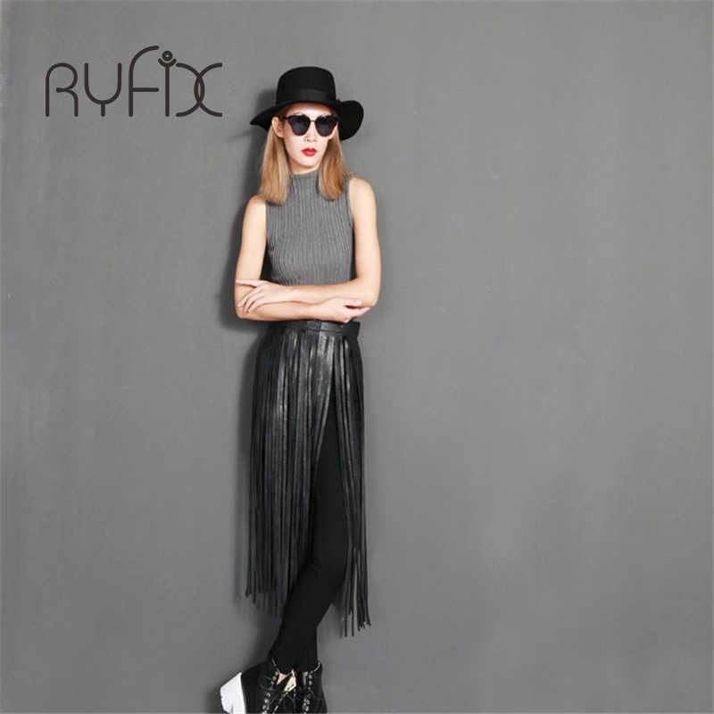 Hot sell Punk Black Fringe Long Tassel Faux Leather Women Belt High Waist Trendy Women  skirt Belts accessories Bl74