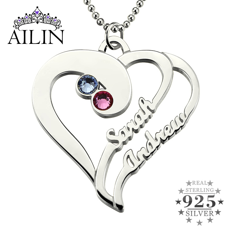 Heart Necklace With Birthstones Sterling Silver Personalized Heart Name Necklace Couples Heart Pendant Gift for her rhinestone metal heart bar layered pendant necklace
