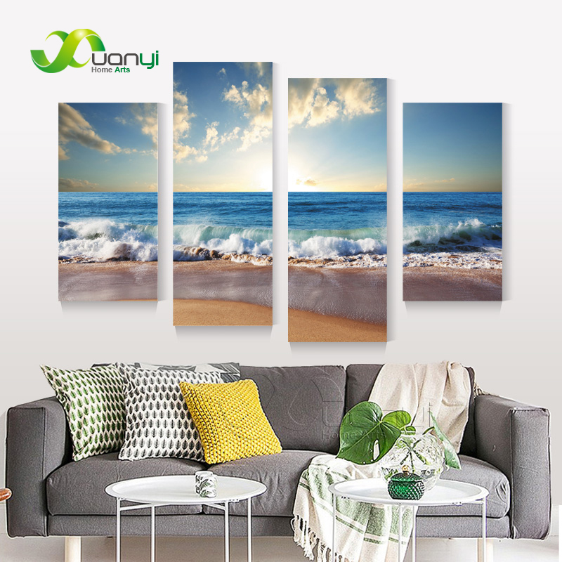 blue sea wave painting canvas prints home art 4 piece modern sunset wave canvas beach wall - Cheap Canvas Wall Art
