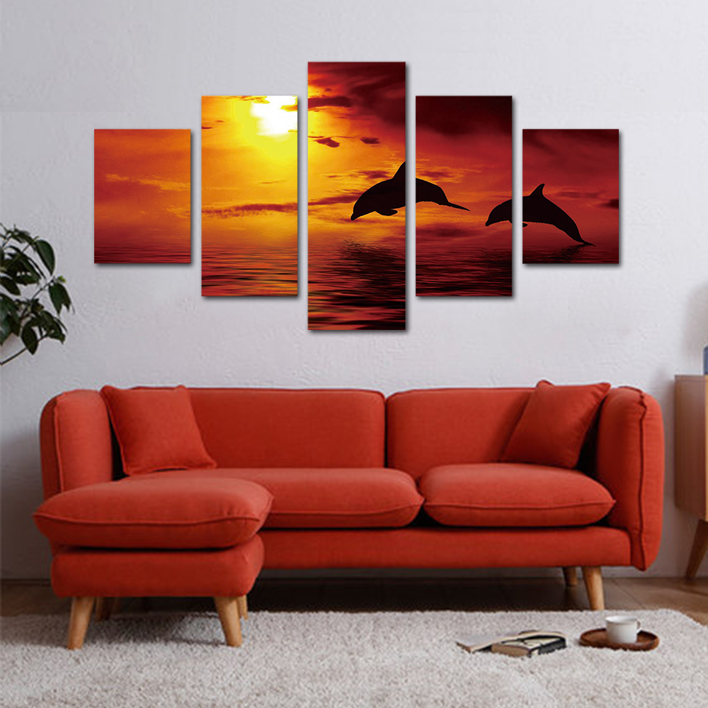 Unframed HD Print 5 Canvas Art Painting Jumping Dolphins Living Room Decoration Spray Painting Mural Free Shipping