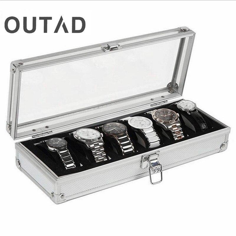 6 cuadrícula insertar ranuras Reloj de la joyería caso pantalla Caja de almacenamiento de aluminio nuevo Reloj Caja Para Reloj Saat Kutusu de