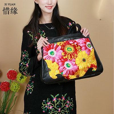 Flower Princess 2017 Fashion Embroidery Vintage Tote Bag for Women Genuine Leather Handbag Female Shoulder Bag Crossbody Bag