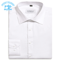 Fayezoo's Slim Fit Luxury Non Iron 100% Cotton Windsor Collar Solid White Formal Business Dress Shirt
