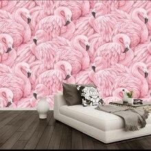купить beibehang wall papers home decor  Custom wallpaper  Flamingo background wall  papel de parede 3d  wallpaper for walls 3 d behang дешево