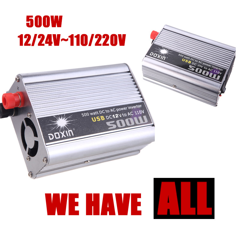 Car Converter 500W DC 24V to AC 220V Modified Silver Power Inverter Adapter USB 5V Output Vehicle Power Supply Charger