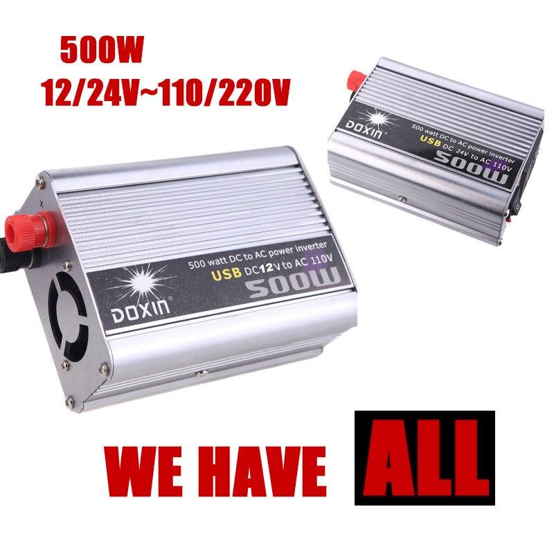 Auto Konverter 500W DC 24V zu AC 220V Geändert Silber Power Inverter Adapter USB 5V Ausgang Fahrzeug netzteil Ladegerät