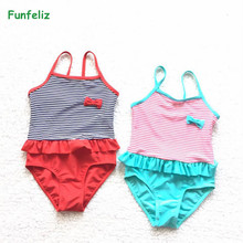 Girls Swimwear 2017 baby girl bathing suit children one piece girl swimsuit blue Red striped swimming costume kids SWIM WEAR недорго, оригинальная цена