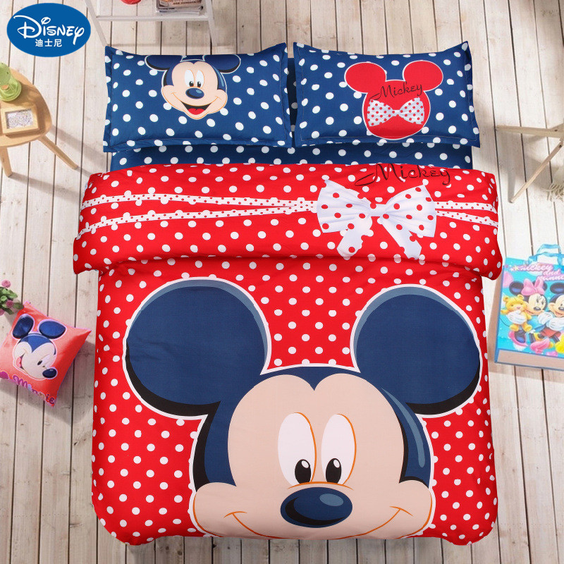 4Pcs Red Mickey Mouse Bedding Set Home Textile Minnie Mickey Cartoon Children Adult Bedclothes Bed Set Girl Boy Baby Disney Gift