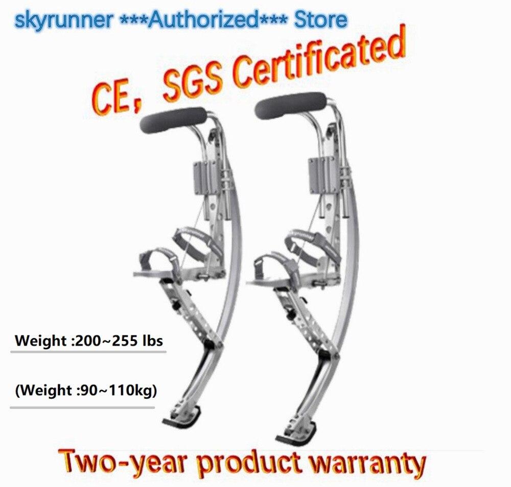 Saut stilts Skyrunner poids 200 ~ 255 lbs/90 ~ 110 kg cadeau de noël pour adulte couleur argent/chaussures de saut/chaussures de vol/sports de plein air