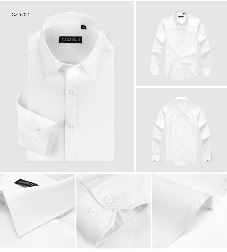 New Mens Slim Fit Solid Color White Long Sleeve Dress Shirt Square