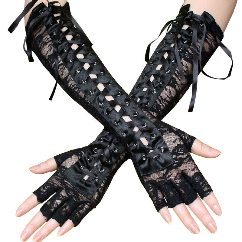 Women Sexy Lace Elbow Length Half-Finger Gloves Black String Ribbon Ties Up Dance Party Fingerless Fishnet Mesh Mittens