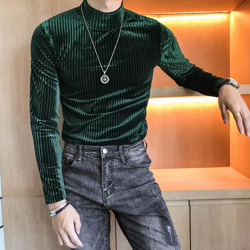 2018 Winter Mens Velvet T Shirts Green Khaki Stripe T-shirts Top Homme Slim Fit Tops Casual Shirt Retro