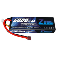 Zeee 6000mAh LiPo Battery for RC 2S 80C LiPo 7.4V with Deans T Plug for RC Car Vehicle Truck Tank Losi Traxxas Slash Truggy