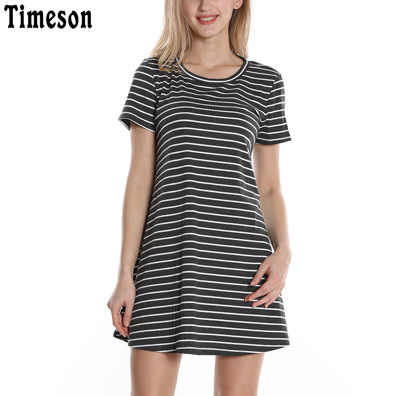 Timeson Short Sleeve Knitted Mini Striped T Shirt Dress women 2018 Summer Round Neck Robe Femme Casual Loose Ladies Dresses round neck ladies sweater dresses cotton knitted 2018 summer womens mini dresses long sleeve party dress robe longue femme q1
