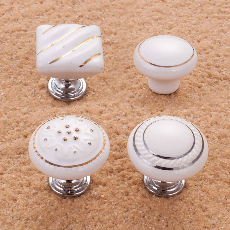 White Porcelain Ceramic Cabinet S Drawer Handles Pulls Mid Century Style Dresser Pull Wardrobe In From Home Improvement On