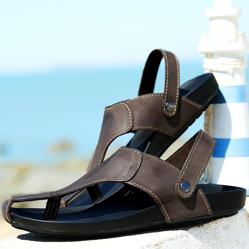 090aaa6ccbebc 2015 Hot selling Classic Design Men Sandals Genuine Leather Beach sandals  Mens Slippers Men s Summer shoes Euro 39 44-in Women s Sandals from Shoes  on ...