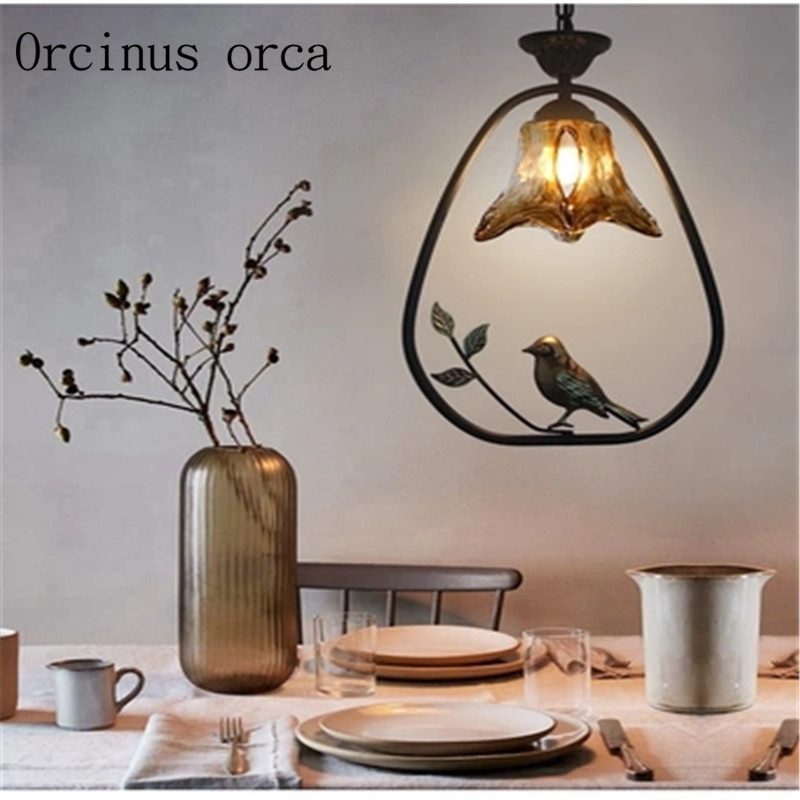 American style rural bird chandelier living room restaurant bar North European retro creative iron Chandelier free shipping free shipping north european russian style brief living room wooden oak wall lamp