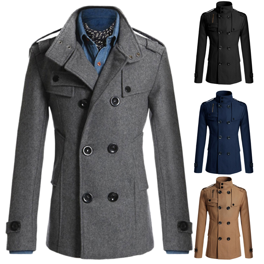 Men Casual Double Breasted Male Trench Coat Military Style Pea ...