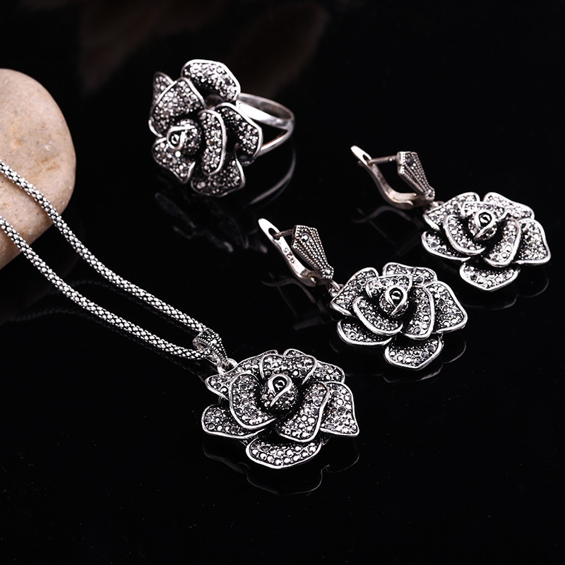 Feelgood Antique Jewellery Vintage Silver Color Big Crystal Flower Pendant Necklace Set Women Jewelry Sets For Party Mother Gift