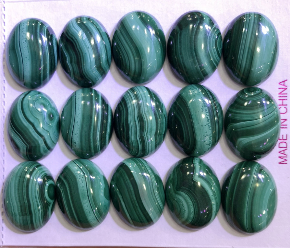 100 Natural AA Quality Malachite Gem stone Cabochon 13x18mm Oval Gem Cabochon Ring Face 10piece pack