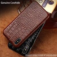 LANGSIDI Genuine Leather Case For Xiaomi Redmi 5 Plus Crocodile Grain Real Cowhide Leather Back Cover